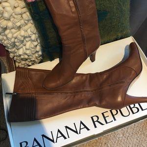 Banana Republic Shoes - Banana Republic brown leather tall boot w/heel 8.5