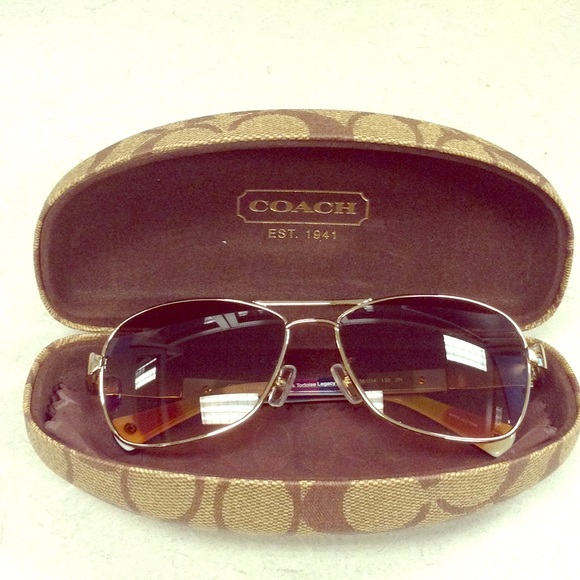 103248f046f5 Coach Accessories | Aviator Sunglasses In Gold Tortoise Shell | Poshmark