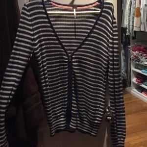 Navy/White Zipper Sweater
