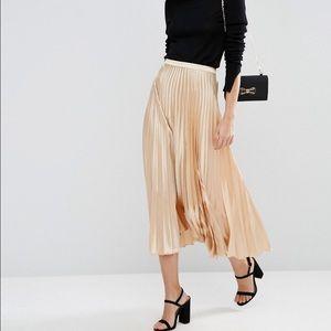 ASOS gold pleated skirt