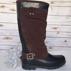 Zara Rain boots Black Brown Suede -size 41 /sz. 11