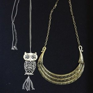 Pack 2: Vintage tribal necklace and owl