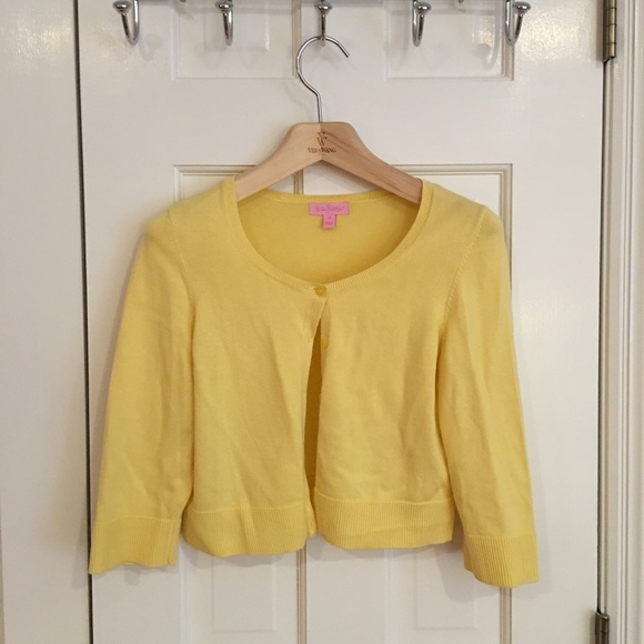 87% off Lilly Pulitzer Sweaters - Lilly Pulitzer yellow button ...