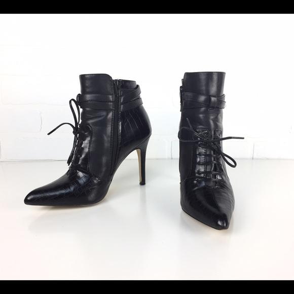 fdf27f8051f Altuzarra Black Faux Crocodile & Leather Boots 8.5