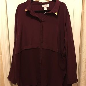 Elvi Tops - ELVI High low maroon blouse with gold detail