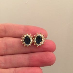 Jewelry - Vintage Costume Sapphire Diamond Earrings
