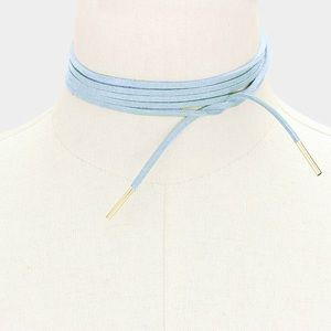 Jewelry - NWT LONG FAUX SUEDE TIE WRAP CHOKER NECKLACE BLUE
