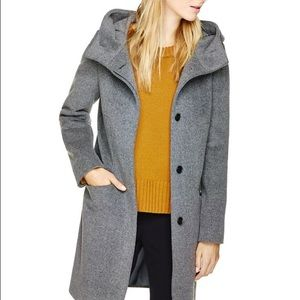 Virgin Wool & Cashmere Minimalist Coat with Hood