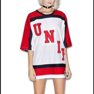 Unif Red White and Black Oversized Hockey Jersey