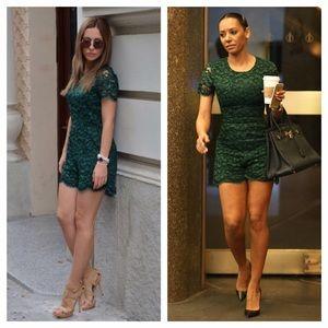 Zara Emerald Green Lace Romper