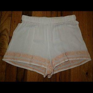 LA Hearts Pants - L. A. Hearts White w/ Orange Embroidery Shorts XS
