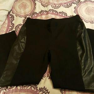 NWOT INC Woman Vegan Leather Panel Leggings 16