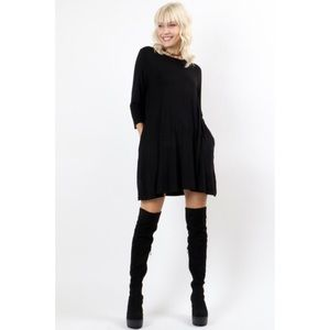 Black Swing Dress with Pockets