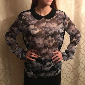Chloe K Tops - Floral chiffon purple blouse with black collar