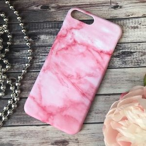 Accessories - HARD SILICONE PINK  MARBLE IPHONE 7 8 PLUS CASE