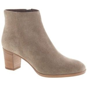 J. Crew Stacked Heel Suede Ankle Boots