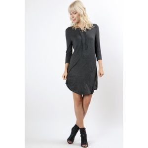 Charcoal Front Lace Up Dress