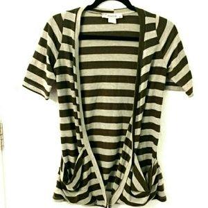 Rosebud Tops - Striped Short Sleeve Pocket Beltable Cardigan
