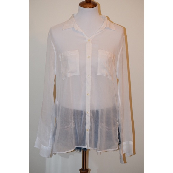 Hollister Tops - Sheer white long sleeve button down top