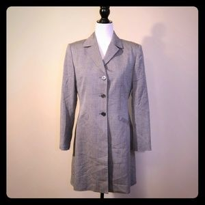 Vintage Jackets & Blazers - Vintage Gray Houndstooth Trench Coat