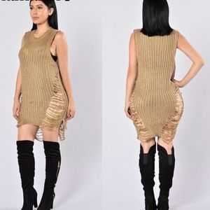 abc937b67c9 Nasty Gal Dresses - Ripped destroyed knit sweater dress Bebe NastyGal