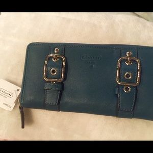 Authentic Coach Leather Buckle Zip Around Wallet