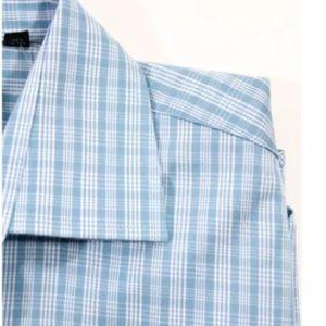 John Varvatos Shirts - JOHN VARVATOS LIGHT BLUE WHITE GLEN PLAID SZ 14