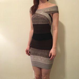 Herve Leger Dresses & Skirts - HERVE LEGER Sand Brown Bandage Bodycon Dress
