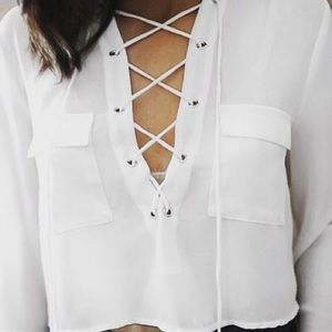 LF White Lace Up Top *NEW*