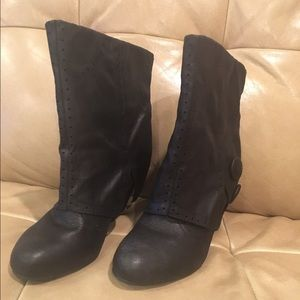 Shoes - Black wedge mid-calf boots