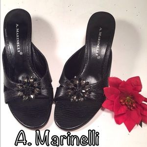 A. Marinelli  Shoes - A. Marinelli Black Slip On High Heel Sandal
