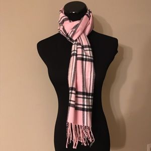 Accessories - NEW Pink Plaid Cashmere-Blend Fringe Scarf