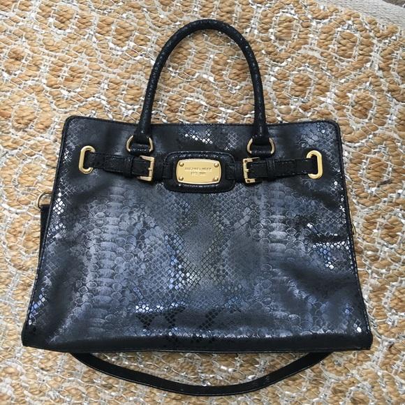 62380add5222 Michael Kors Hamilton black snake embos NWOT purse.  M 58e9386f981829390c0146de
