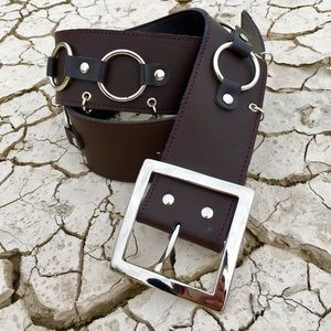 UNIF Accessories - Brown Vegan Leather O-Ring Belt