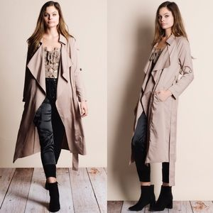 Tan Belted Trench Coat Duster