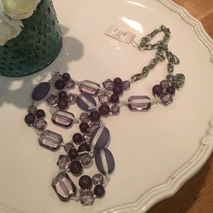 Purple ribbon and bead long necklace