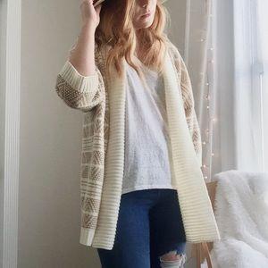 Element Sweaters - Element oversized long cream & tan tribal sweater