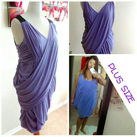⬇Plus Size Lilac Drapped Convertable Dress NWOT NWT