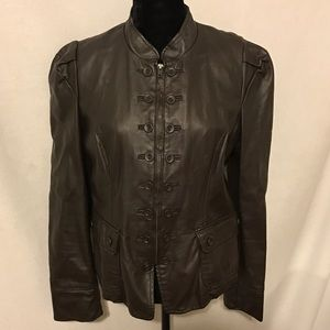 INC Faux Leather Military Jacket