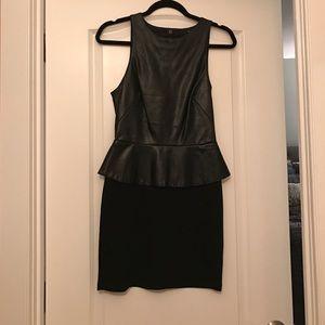 Leather peplum mini dress