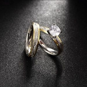 Jewelry - 1 carat Sterling Silver plated wedding ring set