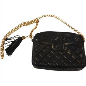 SOLD Chanel navy bag with gold chain