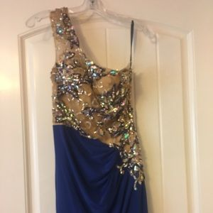 Alyce size 2 royal jersey gown. New with tags