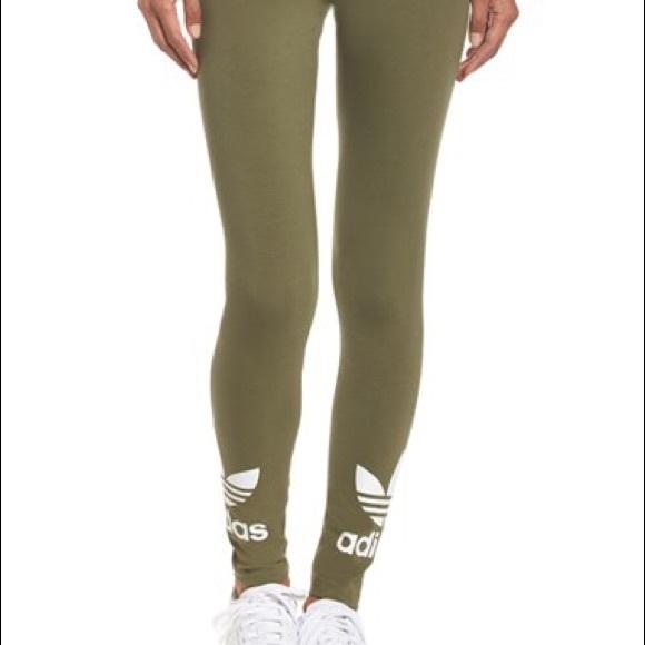 ef582e0ad020a Adidas Pants | Olive Green Trefoil Leggings Large | Poshmark
