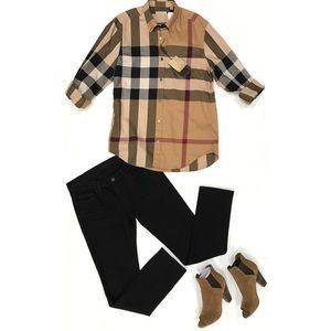 BURBERRY Unisex Check Button Up Top