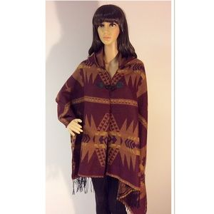 Justify Jackets & Blazers - GORGEOUS AZTEC PRINT HOODED PONCHO