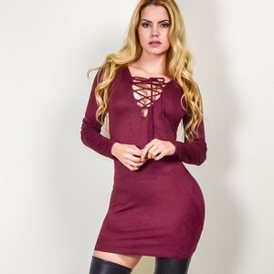 Lace up dress suede