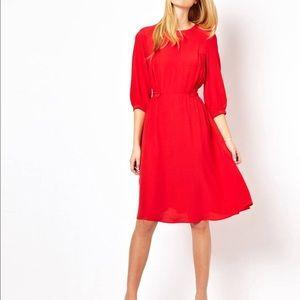 ASOS Red Midi 3/4 Sleeve Dress 0