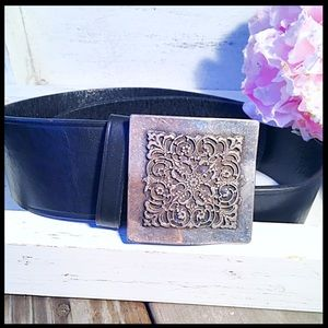 SACKS Fifth Ave Square Buckle Wide Leather Belt