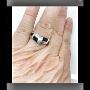 other Jewelry - black onyx inlay chevron unisex silver ring band